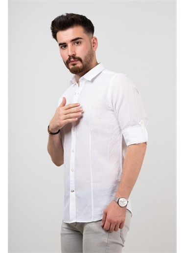 Deri Effect Deri Effect Erkek Keten Slim Fit Gömlek Beyaz